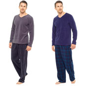 Mens Checked Style Pyjama Set Grey/Blue