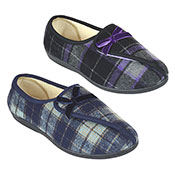 Ladies Velour Checked Slipper With Bow