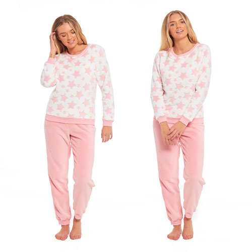 Ladies Star Fleece Pyjama Set Pink