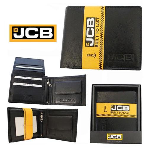JCB Mens Black Leather RFID Blocking Wallet