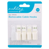 White Removable Cable Hooks 4 Pack