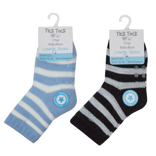 Baby Boys Striped Socks With Grip