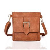 Zane Square Buckle Crossbody Bag Tan
