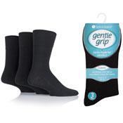 Mens Diabetic Gentle Grip Socks Black