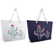 Cactus Print Bag With Rope Handle