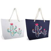 Cactus Print Bag With Rope Handle