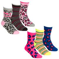 Girls 3 Pack Socks Animal Print