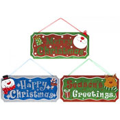 Christmas Decorative Glitter Hanging Plaque