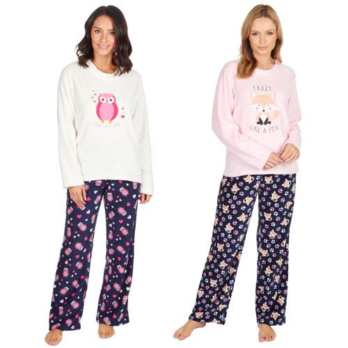 Ladies Owl/Fox Pyjama Set with Slippers