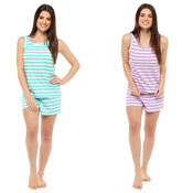 Ladies Short Pyjama Set Purple/Green Stripe