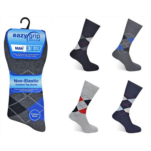 Mens Eazy Grip Non Elastic Socks Argyle