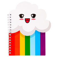 Happy Rainbow Cloud Cut Out Notebook