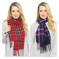 Checked Scarf with Tassels