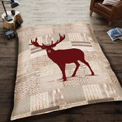 Mink Faux Fur Throw Red Deer
