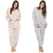 Ladies Fleece Pyjama Twosie Animal