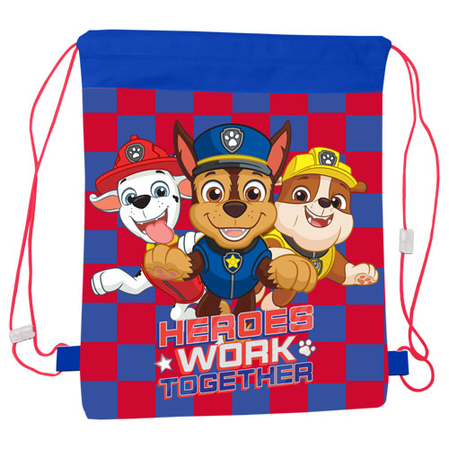 Official Paw Patrol Heroes Work Together Pull String Bag