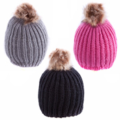 Ladies Winter Hat With Faux Fur Pom Pom