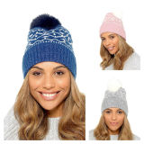 Ladies Bobble Hat With Bead Detail
