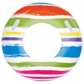 "36"" Inflatable Striped Turbo Tube Ring With Handles"