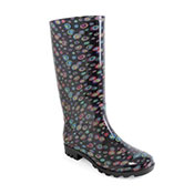 Ladies Circle Print PVC Wellies Black