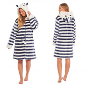 Ladies Navy Stripe Print Fleece Dressing Gown