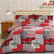 Alpine Patchwork Red Brushed Cotton Duvet Set