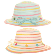 Girls Multicoloured Short Brim With Straw Band