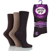 Ladies Gentle Grip Socks Plain Assorted
