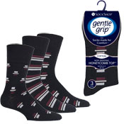 Mens Gentle Grip Socks Retro Rhythm Black