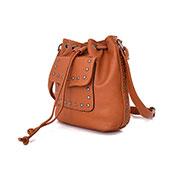 Danni Stud Pocket Bucket Bag Tan