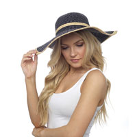 Ladies Wide Brim Straw Hat Black/Natural