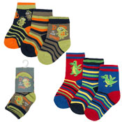 Childrens Dino Design Cotton Rich Socks