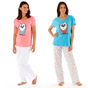 Ladies Owl Applique & Print Pyjamas