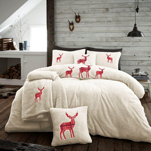 Stag Embroidered Soft Teddy Feel Duvet Set Cream