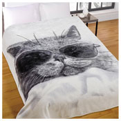 Cat In Shades Cozy Luxurious Mink Throw