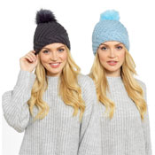 Ladies Knitted Hat With Pom Pom Assorted