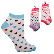 Ladies White Trainer Socks With Hearts