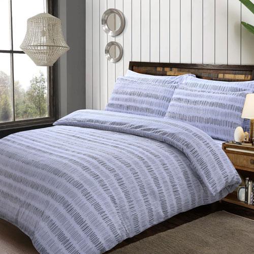 Seersucker Stripe Grey Duvet Set