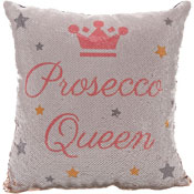 Prosecco Queen Sequin Filled Cushion