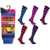 Ladies Heat Machine Thermal Socks Stripes