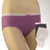 Ladies Plain Boxer Shorts With Lace Trim