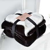 Flannel Sherpa Throw Black