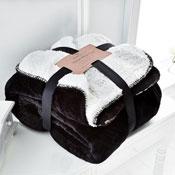 Flannel Sherpa Throw Black