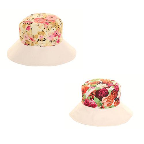 Ladies Floral Sun Hat Reversible