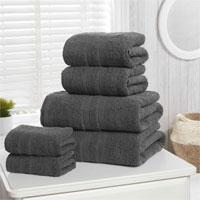 Natural Cotton Camden Bath Sheets Charcoal
