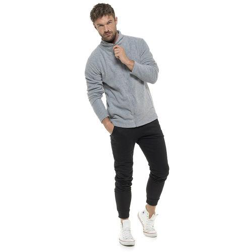 Mens Zip Up Fleece Jacket Light Grey