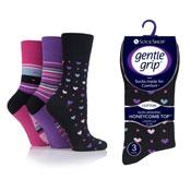 Ladies Gentle Grip Socks Hearts & Stripes