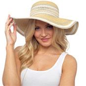 Ladies Glitter Stripes Wide Brim Summer Hat