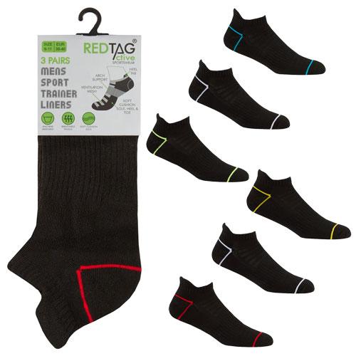 Mens 3 Pack Trainer Socks Neon Stripe