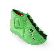 Kids Green Dinosaur Bootee Slippers